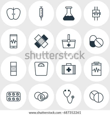 Vector Illustration Of 16 Medical Icons. Editable Pack Of Treatment, Phone Monitor, Fresh Fruit And Other Elements.