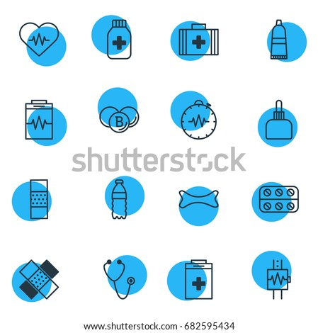 Vector Illustration Of 16 Medical Icons. Editable Pack Of Tube, Plastic Bottle, Heartbeat And Other Elements.