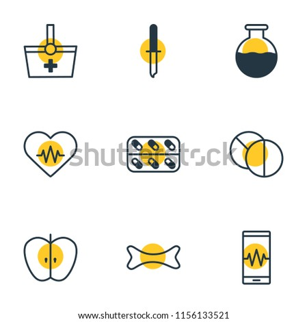 Vector illustration of 9 medical icons line style. Editable set of test tube, eyedropper, capsule and other icon elements.