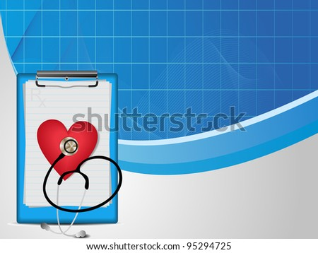 vector illustration  of  medical wave background with stethoscope, diagnostic letter on blue and grey.