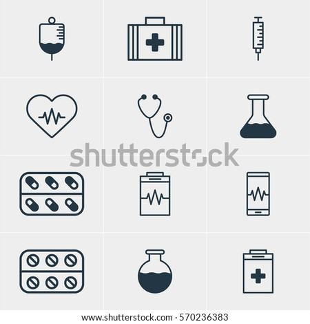 Vector Illustration Of 12 Medicine Icons. Editable Pack Of Medicine, Vaccinator, Flask And Other Elements.