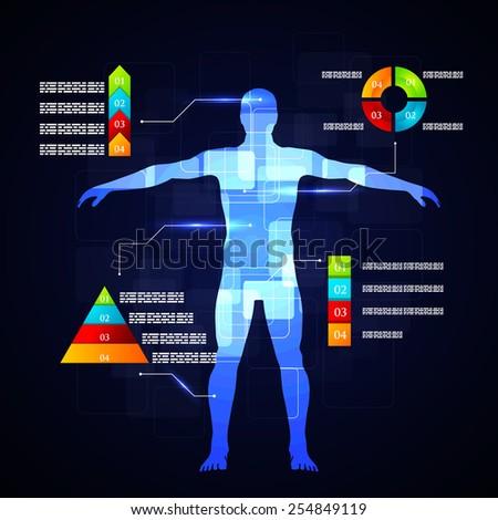 Vector illustration of medicine infographics. Schematic ...