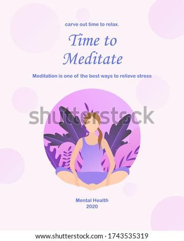 vector illustration of meditation mental health concept, use in poster, social media, etc. Stock foto ©