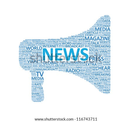 Vector illustration of megaphone symbol made up of various news words. Isolated on white.