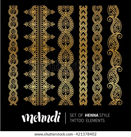 Vector illustration of mehndi pattern, set of seamless borders. Traditional indian style, ornamental floral elements for henna tattoo, golden stickers, flash temporary tattoo, mehndi and yoga design