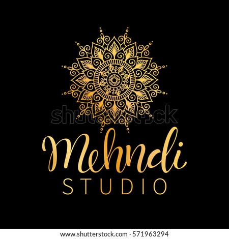 Vector illustration of mehndi pattern. Traditional indian style, ornamental floral elements with henna tattoo, golden stickers, flash temporary tattoo, mehndi and yoga design, cards and prints