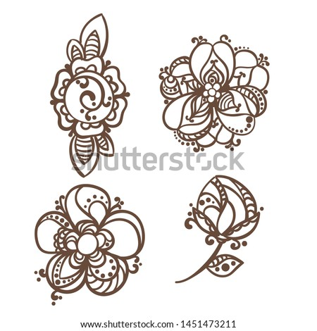vector illustration of mehndi template on white #1451473211