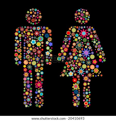 Vector illustration of men and women shape made up a lot of  multicolored small flowers on the black background