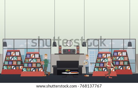 e4d4533e3a4 Vector illustration of men choosing CDs at music store and listening to  music at home.