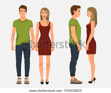Vector illustration of men in casual clothes and girl with blonde hair in red dress on the white background.Cartoon realistic people illustation. Flat young couple. Front view people, Side view people