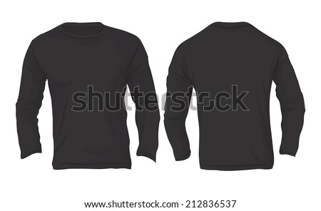 Vector illustration of men's long sleeved t-shirt template in black color isolated on white, front and back design