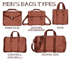 Vector illustration of mens bags types: briefcase, satchel or messenger, tote, carryall of holdall and duffel bag. Vintage drawing style.