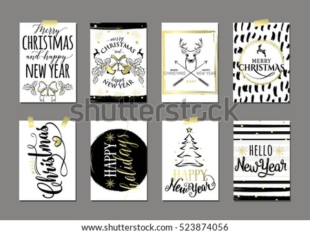 vector illustration of merry christmas and happy new year golden typography flyer template with lettering