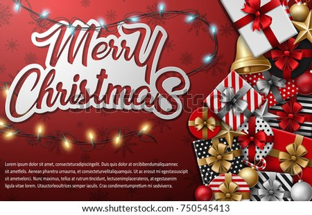 Vector illustration of Merry christmas typographical with different gift box and christmas elements on red background