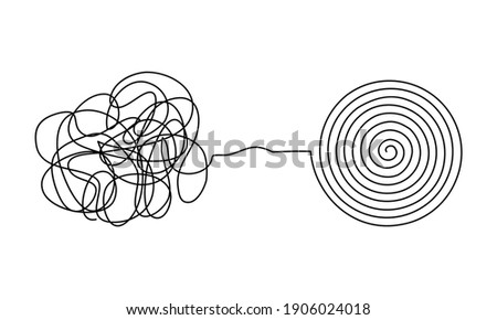 Vector illustration of messy complicated clew line transforming into orderly round element isolated on white background. Concept of solving problem, difficult situation, chaos and mess Stock fotó ©