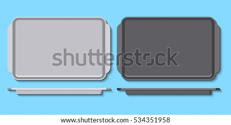 Vector illustration of metal pans for baking in oven. Flat styled art. Oven-tray isolated on blue background. Great for recipe design. Foto d'archivio ©