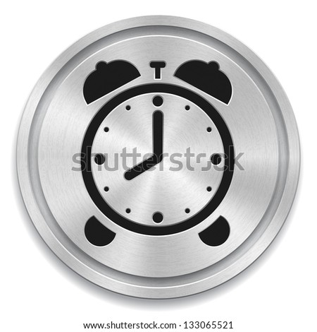 Vector illustration of metal rounded button with alarm clock sign