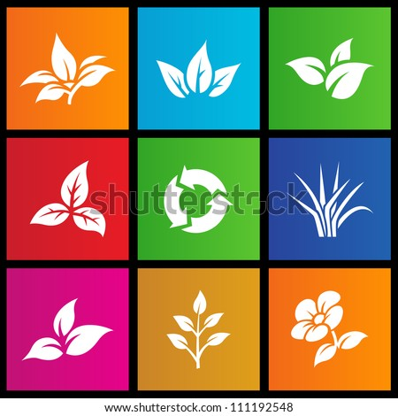 vector illustration of metro style leaves and flower