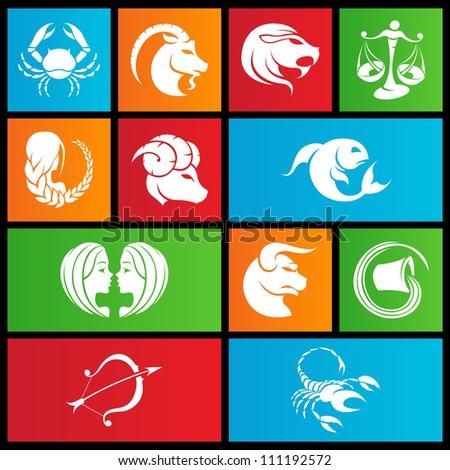 vector illustration of metro style zodiac star signs - stock vector