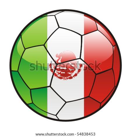 mexico flag. Mexico flag on soccer ball