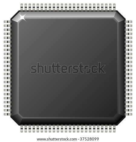 Vector illustration of microchip isolated on white background. - stock vector
