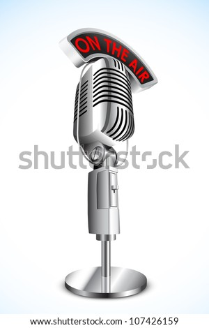 vector illustration of microphone with on air tag on black background