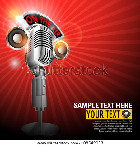 vector illustration of microphone with on air tag on musical background