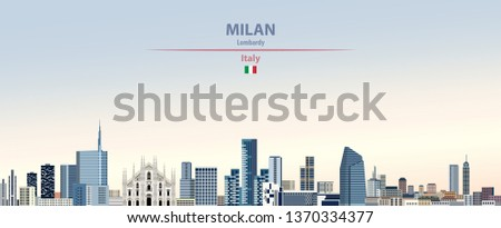 Vector illustration of Milan city skyline on colorful gradient beautiful day sky background with flag of Italy