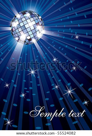 Vector illustration of mirror disco ball on blue background
