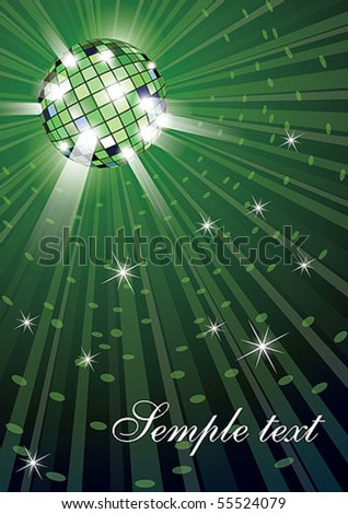 Vector illustration of mirror disco ball on green background