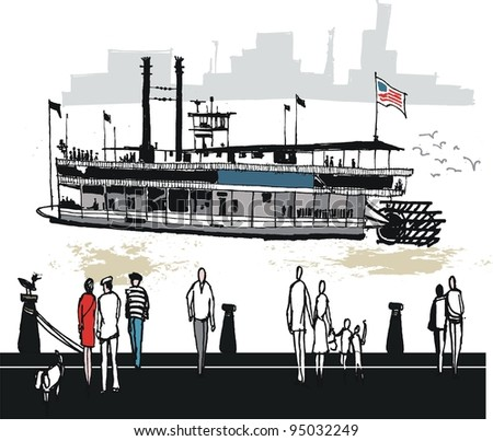 Vector illustration of Mississippi paddle steamer with people on wharf
