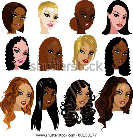 Vector Illustration of Mixed Biracial Women Faces. Great for avatars, makeup, skin tones or hair styles of mixed women.