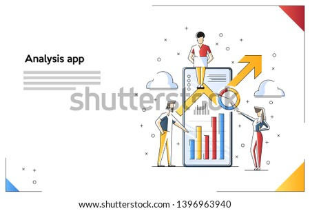 Vector Illustration of Mobile Analysis. The Analysis of the Evolutionary scale. Digital information chart and statistic financial budget.