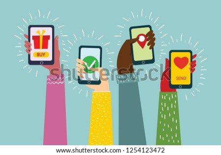 Vector illustration of Mobile applications concept. Hands with smartphones in the flat design.