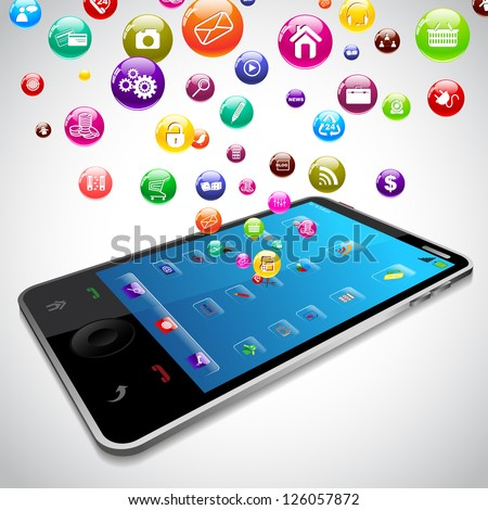 vector illustration of Mobile Phone Application coming out of screen