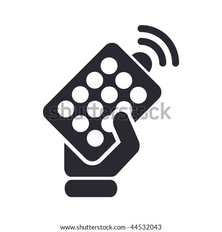 Vector illustration of modern black icon depicting a remote controller