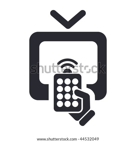 Vector illustration of modern black icon depicting a remote tv