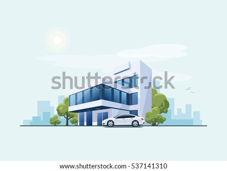 Vector illustration of modern business office building with green trees and white car parking in front of the workplace in cartoon style.  City skyscrapers skyline on blue background.