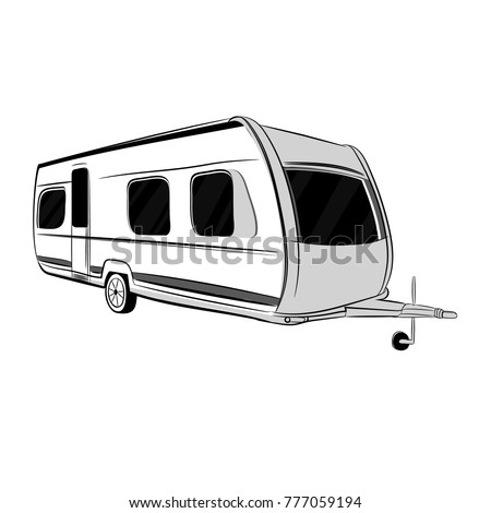 Vector illustration of modern caravan, trailer for travel, tourism with family. Isolated object.