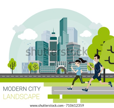 Vector illustration of modern city in cartoon style.  Cute couple jogging and running outdoors. City skyscrapers building office skyline with sky and clouds on background.