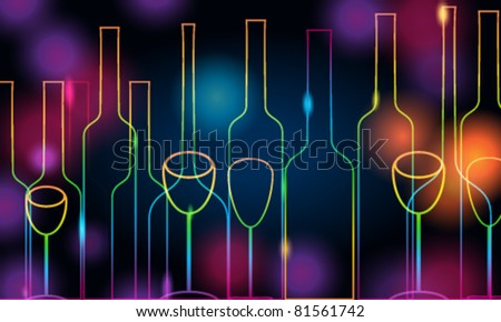 Vector illustration of modern, elegant glowing bottles and glasses on glittering background