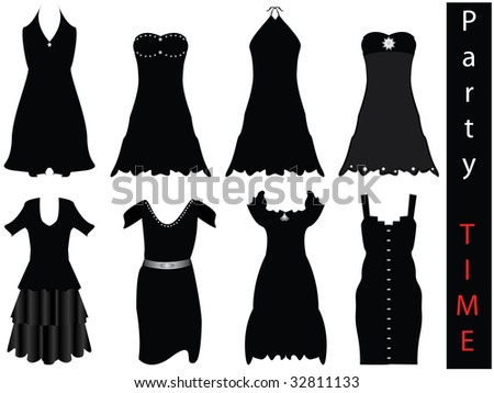 Vector illustration of modern formal dresses - NEW FASHION - stock vector