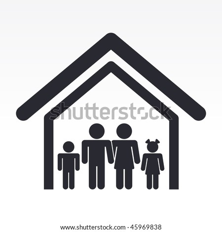 Vector illustration of modern glossy black icon depicting a family house