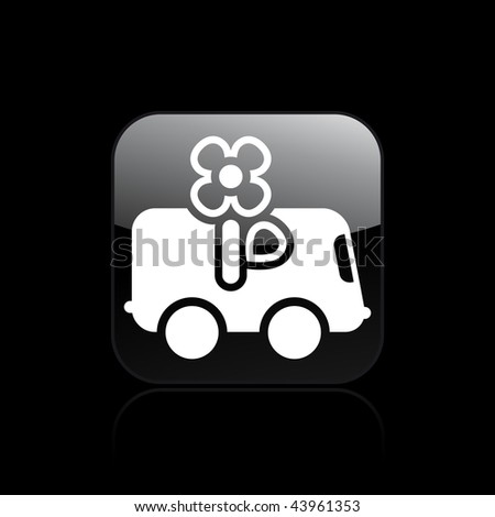 Vector illustration of modern glossy black icon depicting a flower delivery icon