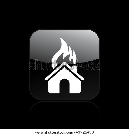 Vector illustration of modern glossy black icon depicting a home burning