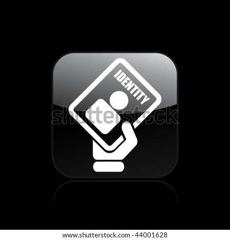 Vector illustration of modern glossy black icon depicting a identity card