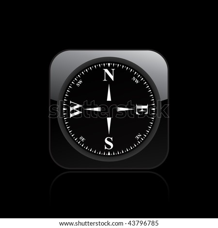 Vector illustration of  modern glossy black icon depicting a minimal compass