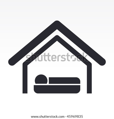 Vector illustration of modern glossy black icon depicting bed in a house - stock vector