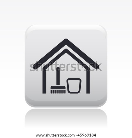 Vector illustration of modern glossy black icon depicting the domestic cleaning concept