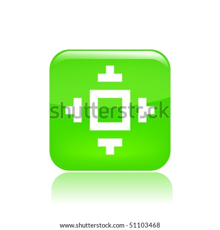 Vector illustration of modern glossy green icon depicting a pixel icon